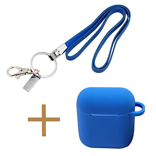 Office Lanyard and AirPod Case Set, Boshiho PU Leather Necklace Lanyard for ID Badge Holder/Keys/USB; Silicone Case Protective Cover for Apple AirPods (Lanyard w Case Blue)