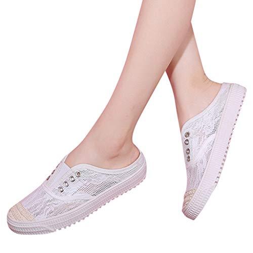 Bravetoshop Womens Canvas Slip on Fashion Sneaker Skate Shoe Flats Comfortable Walking Casual Shoes (White,39)
