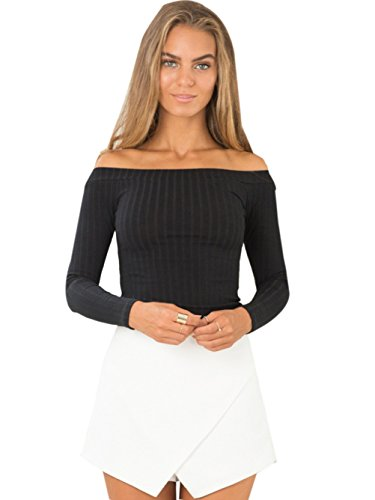 (Womens Ribbed Knit Long Sleeve Off The Shoulder Blouse Crop Tops S Black )