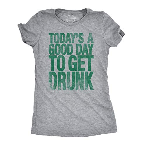 Crazy Dog T-Shirts Womens Good Day to Get Drunk Funny Drinking Beer Party T Shirt (Heather Grey) - S