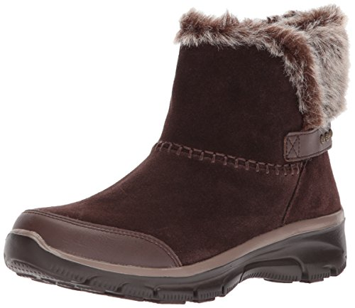 Skechers Women's Easy Going-Quantum Ankle Bootie,Chocolate,8 M US (Womans Boot Liners)