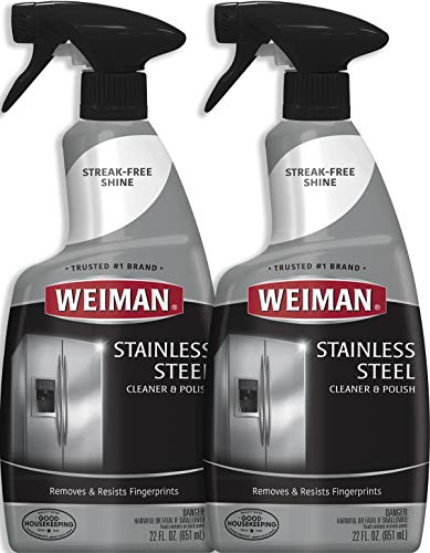 Weiman Stainless Steel Cleaner and Polish - 22 Ounce [2 Pack] - Protects Appliances From Fingerprints and Leaves a Streak-free Shine For Refrigerator Dishwasher Oven Grill etc - 44 Ounce Total