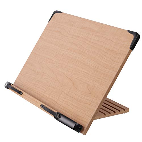 A+ Book Stand BS2500 Large Book Holder w/Adjustable Foldable Tray and Page Paper Clips-Cookbook Reading Desk Portable Sturdy Lightweight Bookstand-Textbooks Bookstands-Books Tablet Cook Recipe Stands