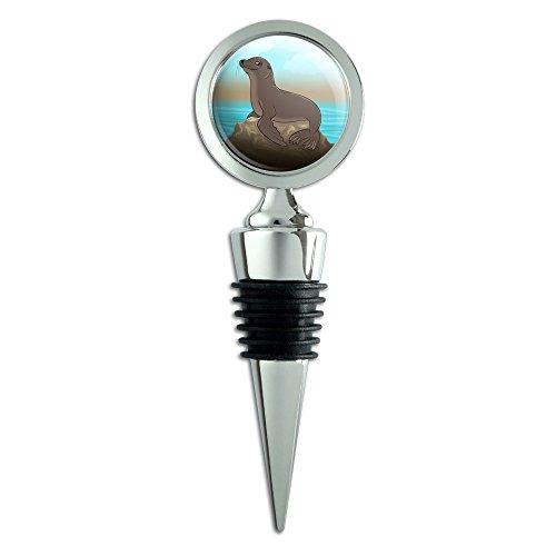 Sea Lion on Rock Seal Wine Bottle ()