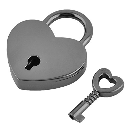 uxcell Metal Heart Shaped Drawer Suitcase Security Lock Padlock Black