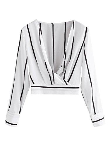 Cotton Stripe Wrap Top (MIOIM Womens Sexy Deep V Neck Stripes Crossed Wrap Front Elastic Hem Blouse Slim Fit Crop Tops)