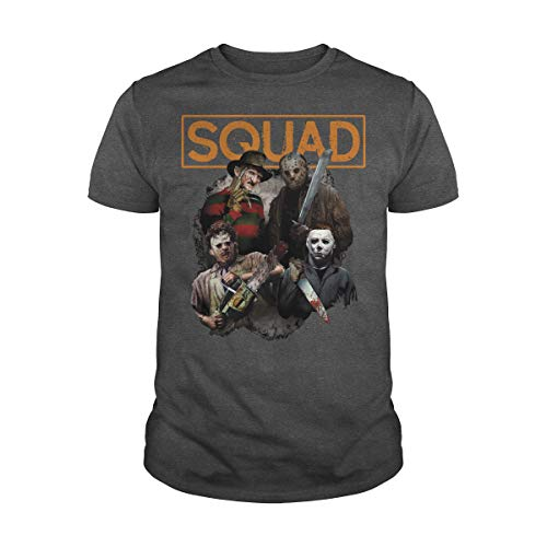 Zinko Men's Freddy Jason Michael Myers and Leatherface Squad Halloween Horror T-Shirt (3XL, Dark -