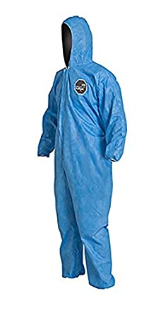 Blue Elastic Cuff and Ankles DuPont ProShield 10 PB127S Disposable Protective Coverall with Standard Fit Hood 3X-Large Pack of 25