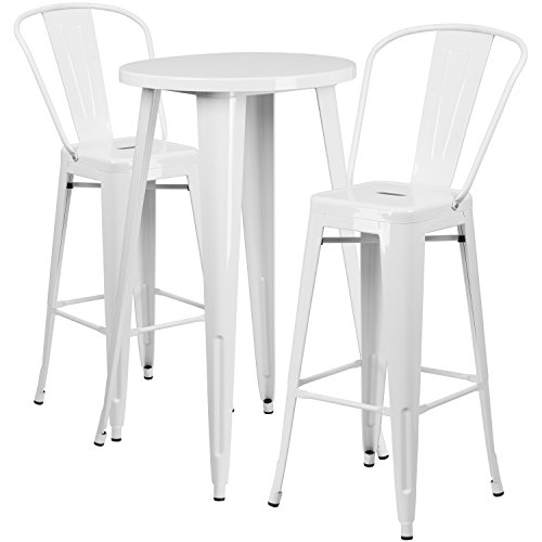 Flash Furniture 24'' Round White Metal Indoor-Outdoor Bar Table Set with 2 Cafe Stools (Outdoor Bar Height Table Set)