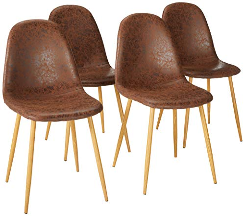 VECELO Dining Side Chairs, Durable PU Cushion Seat Back Sturdy Metal Legs, Dining/Living Room Chairs Set of 4, Brown