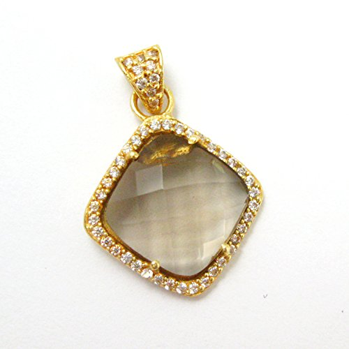 22K Gold plated Sterling Silver Pave Bezel Gemstone Pendant - Smokey Quartz Gemstone -Vermeil CZ Pave Necklace Pendant ()