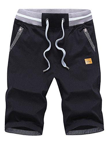 Mens Casual Shorts Classic Drawstring Elasticated Waist Summer Beach Shorts Large 1# Black