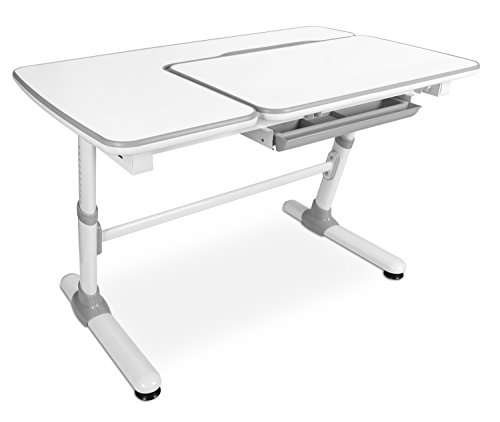 Mount-It! Children's Desk Ages 3 to 12, Kids School Workstation, 47 Inch Wide Height Adjustable Study Desk, Tilting Desktop and Drawer, White by Mount-It!