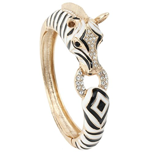 EVER FAITH Austrian Crysta Enamel Art Deco Zebra Horse Animal Hinged Bracelet Black Gold-Tone