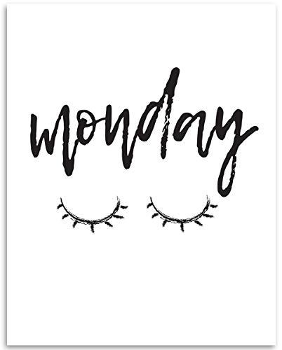 - Monday Eyelashes Closed - 11x14 Unframed Art Print - Great Gift To Women