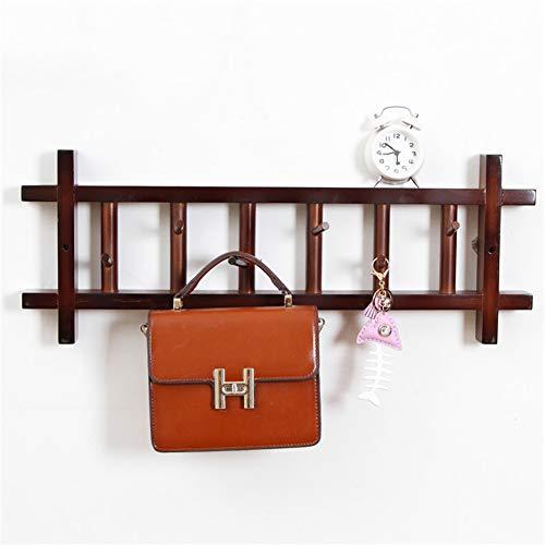 Coat Rack Hanger Drying Rack Bedroom Multiple Hooks Nanzhu 3 Colors 2 Size (Color : Brass, Size : 62x4x24cm) ()