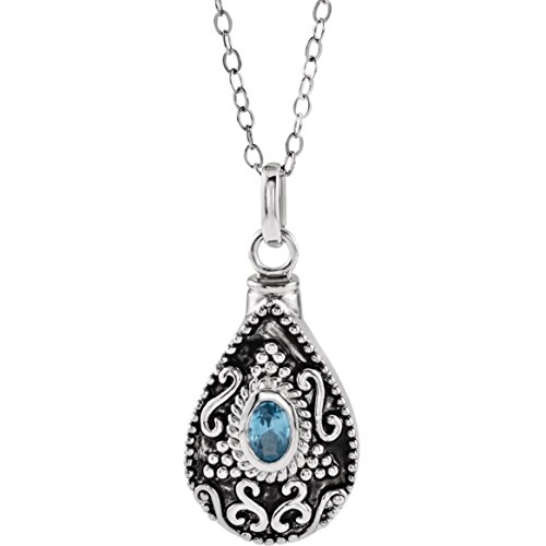 Bonyak Jewelry Sterling Silver December Birthstone Accented Tear Ash Holder 18