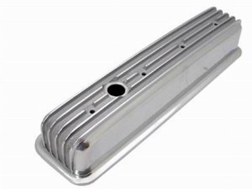 - Racing Power Company R6196 Short Finned Polished Aluminum Center Bolt Valve Cover for Small Block Chevy