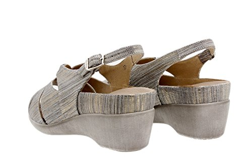Calzado mujer confort de piel Piesanto 1152 Sandalia Plantilla Extraíble cómodo ancho Gris