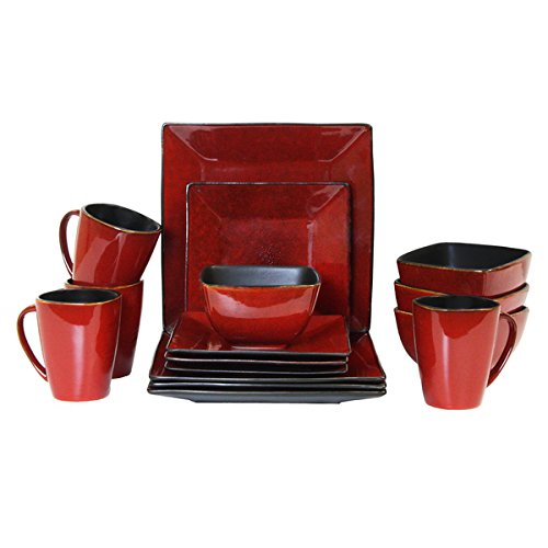 Elama Harland Loft 16 Piece Modern Premium Stoneware set wit