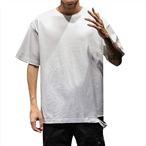 FONMA Mens Summer Casual Solid Color O-Neck Short Sleeve Large Size T-Shirt Top Blouse White