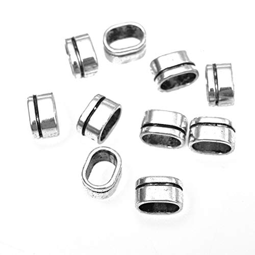 Monrocco 10pcs Antique Silver Flat Licorice Leather Cord Slider Beads Charm Jewelry Making