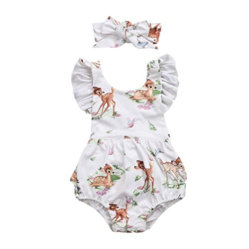 (G-real Infant Baby Girl Cute Flower Deer Romper Jumpsuit Ruffle Tops+ Bow Headband Playsuit For 3-18M (Beige, 6M))