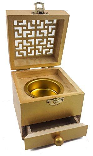 Nazareth Store Incense Burner Resin Drawer Holder Gold Color Natural Wood Box Distiller Charcoal Burner