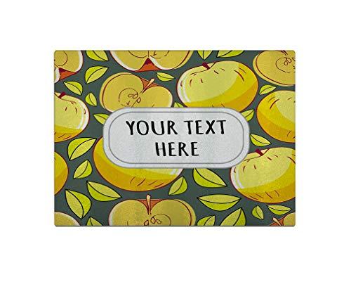 Glass Cutting Board Custom Apple Pattern Yellow Olive-green Kitchen Rectangular Chopping Trivet 8