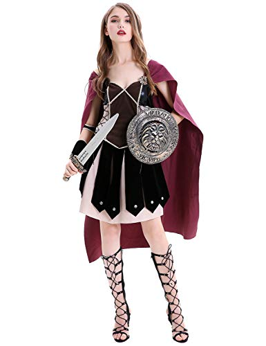 Adult Female Warrior Costumes Halloween Wonder Woman Cosplay Cloak Cape Dress Red]()