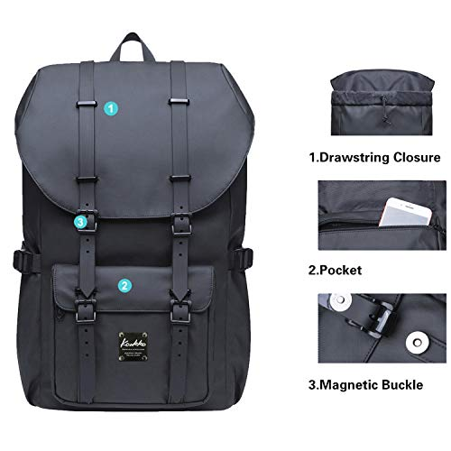 "KAUKKO Laptop Outdoor Backpack, Travel Hiking& Camping Rucksack Pack, Casual Large College School Daypack, Shoulder Book Bags Back Fits 13"" Laptop & Tablets Mini Size(9black)"
