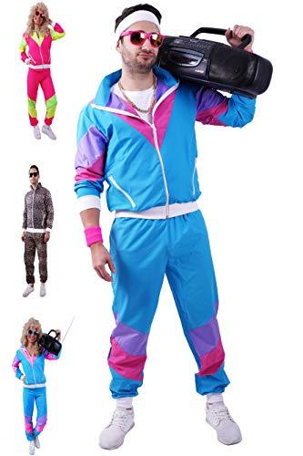 80s / 90s Shell Suit Party Dress Costume/Retro Tracksuit/Hip Hop Costumes/Windbreaker & Pants (XXXL, Blue)