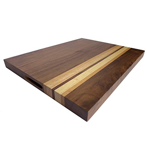 Large American Walnut Wood Cutting Board with Cherry/Oak Accents: 17x13x1.1 Chopping Block with Cracker Holder (Gift Box Included) by Sonder Los Angeles