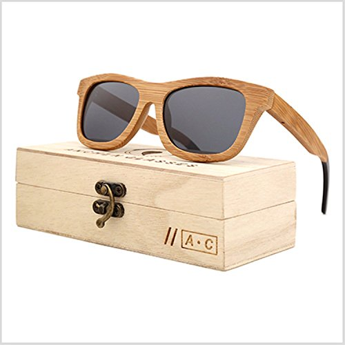 JapanX Bamboo Sunglasses & Wood Wooden Sunglasses for Men Women, Polarized Lenses Gift Box – Wooden Vintage Wayfarer Sunglasses - Bamboo Wood Wooden Frame – New Style Sunglasses (A6 - Sunglasses Stand Display Suppliers