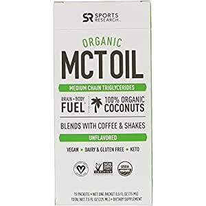 Sports Research, Organic MCT Oil, Unflavored, 15 Packets, 0.5 fl oz (15 ml) Each