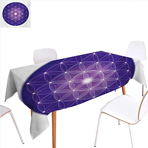 familytaste Sacred Geometry Printed Tablecloth Flower of Life Design of Ancient Traditions with Point Stars Archaic Motif Rectangle Tablecloth 60