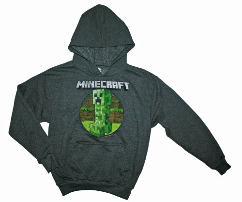Minecraft Retro Creeper Hoodie Boys Hooded Sweatshirt (M (10/12)) (Minecraft Kids Hoodie)