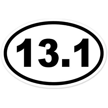 Black 3 inches wide 13 1 oval half marathon run car bumper window sticker