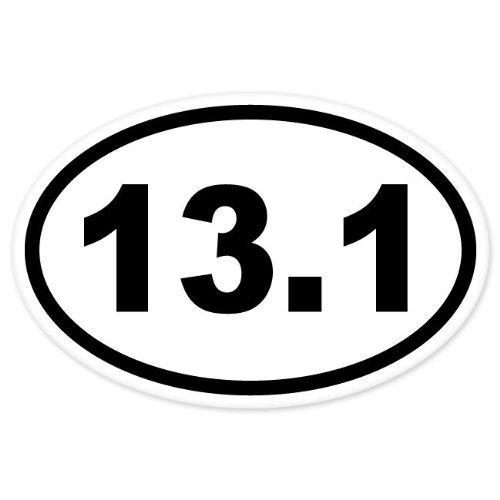 black 3 inches wide 13.1 Oval Half Marathon Run car bumper window sticker