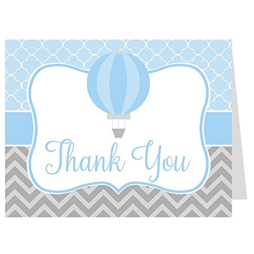 (Hot Air Balloon Thank You Cards Baby Shower Up Up and Away Let The Journey Begin Adventure Chevron Stripes Quatrefoil Trellis Blue Boys It's A Boy Gray Grey Bridal Wedding Birthday Party (50 Count) )