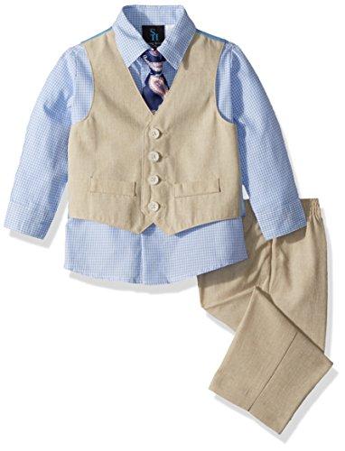 Steve Harvey Baby Boys Four Piece Vest Set, Ocean View Linen, 12 Months ()