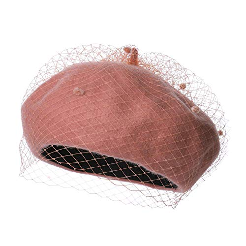 Women French Wool Beret Hats - Solid Color Classic Beanie Winter Cap (Mesh-Pink)]()
