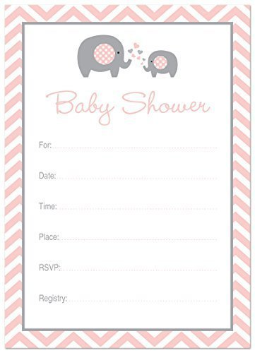 24 Cnt Pink Elephant Baby Fill-in Invitations