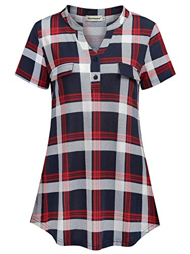 (Nandashe Plaid Tunic Tops for Leggings for Women, Juniors Clothing Split V Neck Blouse Plain Roomy Breathable Comfy Button Up Short Sleeve Check Pattern Knitted Polo Shirt for Spring Wear Navy Red M)