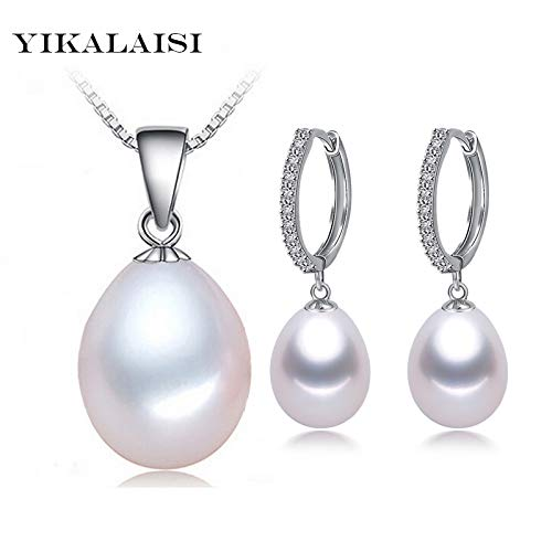 2017 Natural Freshwater Pearl Necklace Sets Pendant Drop Earrings 925 Sterling Silver Jewelry for Women for Girls