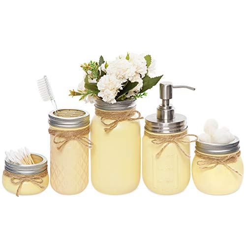 - Mkono Mason Jar Bathroom Set 5 Piece Painted MasonJars Bathroom Organizer for Soap Dispenser,Cotton Balls,Q-tip-Perfect Farmhouse Rustic Decor