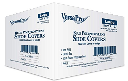 VersaPro Medical Booties Shoe Covers Non Slip Package of 50 Pair - 100 Covers - Blue (Pack of 10) by VersaPro (Image #1)