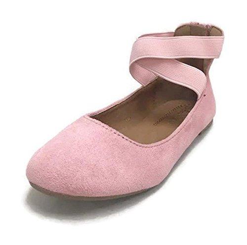 ANNA Dana-20KB Girls' Dress Ballet Flat Faux Suede Shoes, Mauve 4