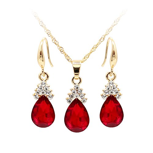 Wintefei Vintage Teardrop Rhinestone Women Jewelry Set Necklace Hook Earrings Pendants - (Hook Earrings Set)