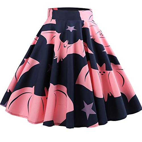 (NREALY New Women's Casual Retro Halloween Printing Evening Party Skirt Swing Skirts(L,)